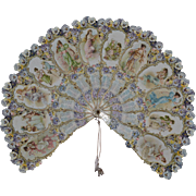 Fabulous charming fan in lithograph calendar with it history on the other side