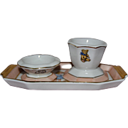 Charming French Limoges set for child ,egg cup and salt cup on it little tray ...