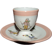 Nice French vintage egg cup  decorated with winter sport