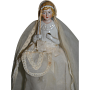 Gorgeous candy container First Communion china half doll  from France