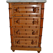 French faux bamboo chest of drawers 1890
