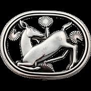 PRE WAR Georg Jensen Sterling silver DENMARK solv Deer Brooch by A. Malinowski