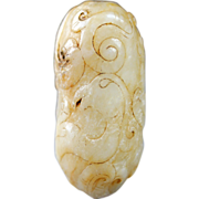 Archaic Chinese white jade carving Dragon pendant!