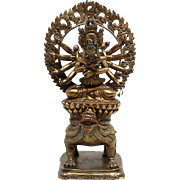 REDUCED Terrific antique Sino-Tibetan gilt Buddha bronze deity, Qing Dynasty