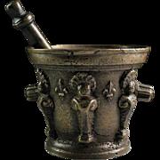 Superb Rennaissance French bronze mortar w Fleur de lis!