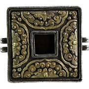 Superb 19c. Tibetan Gilt silver Gau box, relic container!