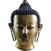 Important large Gilt bronze head of Buddha, Ming Dynasty!