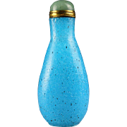 Persian blue Chinese Peking Glass snuff bottle, 19th. century
