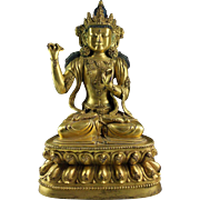 Superb quality massive Sino-Tibetan gilt bronze figure of buddha!