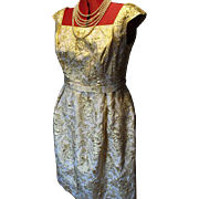 Vintage Short Cocktail Dress in Gold French Brocade