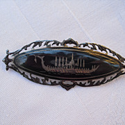 Vintage Thai Niello Sterling Silver Brooch depicting the Royal Barge