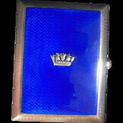 Superb Silver/SilverGilt and Blue Enamel Cigarette Case
