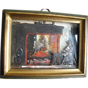 Antique French Miniature 3 Dimensional Painting