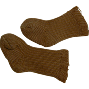 Old French or German doll socks Light Brown color.