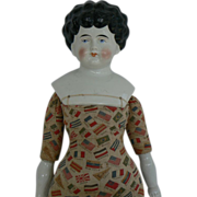 Hard to Find China Head Doll GREAT FLAG body.