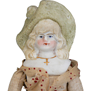 China Head doll with molded hat Original body cute Look