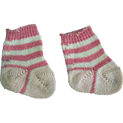 Vintage Pink and White Baby doll socks 40's 50's era.