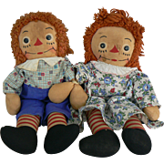 Georgene Raggedy Ann & Andy dolls 15 inch size Original outfits.