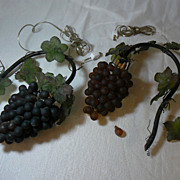 """Vintage 20""""s Czech or French Grape Wall Sconce Lamps Lights OLD"""