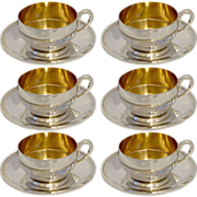 RAVINET Massive French Sterling Silver Vermeil Six Coffee/Tea Cups w/Saucers