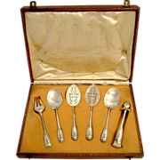 Puiforcat French Sterling Silver Dessert/Hors D'oeuvre Set 6 pc w/Box Louis XVI