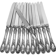 PUIFORCAT French Sterling Silver Dessert Knife Set 12 pc, New stainless blades