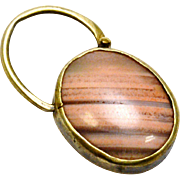 Antique Victorian gold washed silver pink striped Scottish agate padlock clasp