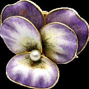 Antique Art Nouveau 14k gold hallmarked purple enamel pearl pansy flower brooch pin
