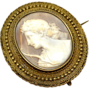 Antique Victorian gold washed silver carved shell cameo of Diana or Artemis brooch AS IS