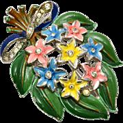 Vintage Crown Trifari signed enamel rhinestone floral bouquet fur clip