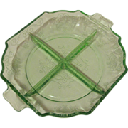 Depression Glass Indiana Lorain Four-Part Green Relish Dish Tray 1929-1932