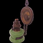 Kosmos Brenner Lamp Oil Kerosene Green Glass Reflector Wall Bracket Antique