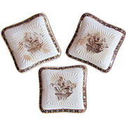 Royal Doulton Elaine Brown Transferware Three (3) Butter Pats c.1887