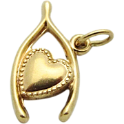 Vintage 10K Gold *Lucky in Love* Wishbone with Heart Charm