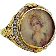 SOLD Antique Victorian 14K Gold Hand Painted Lady Portrait Ring 1800s