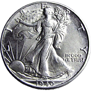 1940-P Walking Liberty Silver Half Dollar Uncirculated UNC. US Coin