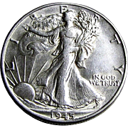 SOLD 1945-P Walking Liberty Silver Half Dollar US Coin XF+/AU