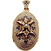 Antique Victorian/Edwardian 14K Rose Gold Mourning Locket with Seed Pearl