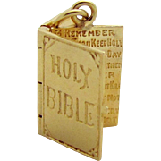 SALE Vintage 14K Gold Holy Bible Charm *Opens to the Ten Commandments*