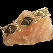 Vintage Siam Sterling Silver Niello Bracelet