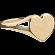 Vintage 10 Karat Gold Heart Signet Ring