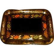 SOLD Vintage Extra Large Handpainted Tin Toleware Floral Tray with Pierced Handles
