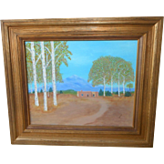 Taos New Mexico ~ Majestic Mountains ~ Southwestern Birch and Adobe Original Oil Painting ...