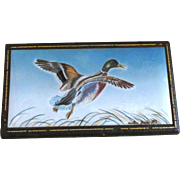 Rare Vintage Leather Covered Wooden Box with Hand Painted Mallard Duck in Flight on Porcelain