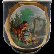 Large Antique Porcelain French Jardiniere - Cache Pot Romantic Scene