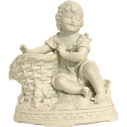 Large Antique German Parian Bisque Character Girl Piano Baby Figurine