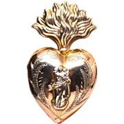 SOLD Antique Nineteenth Century French Vermeil Sacred Flaming Heart Reliquary Ex Voto