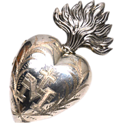 SOLD Gorgeous Large French Silver Sacred Heart Ex Voto Reliquary