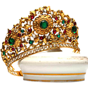 Life-sized Antique French Gilded and Bejeweled Bronze/Brass Santos Diadem Crown