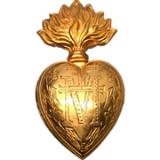 SOLD Antique Nineteenth Century French Gilded Brass Sacred Flaming Heart Ex Voto